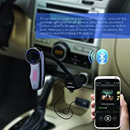 FM Transmitter, New Version, Mpow Streambot Flex Wireless Car Stereo Bluetooth FM Transmitter Radio Adapter Handsfree Car Kit with Hands-Free Calling, Music Control for iPhone 6 Plus, 6 5S 5C 5 4S; Samsung Galaxy S6 Edge, S6 S5 S4 S3; iPod, iPod Touch and