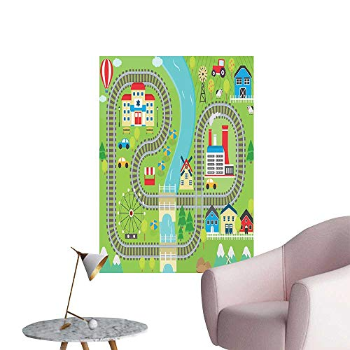 Kids Activity Canvas Print Wall Art Country Community Themed Activity Filled Town Amusement Park Farm Hospital Fashion Stickers for Wall Multicolor W32 x H48