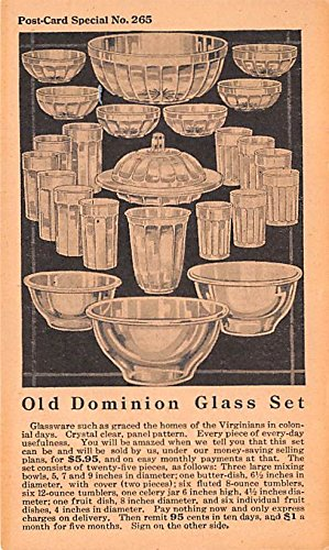 - Houseware Advertising Old Vintage Antique Post Card Dominion Glass Set Unused