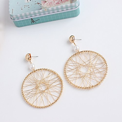 - Korean Fashion Exaggerated Wealthy Unique Handmade Wire Wrapped Earrings earings Dangler Eardrop Circle Big Circle Without Pierced Ear Clip