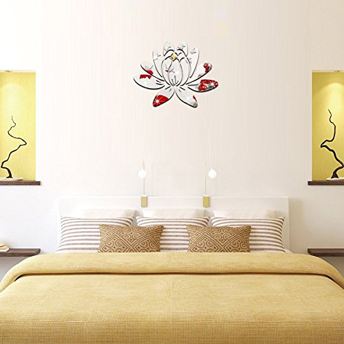 ufengke home 3D Lotus Flower Silver Wall Stickers With Mirror Effect Decorative Removable Double-Sided Plastic DIY Fashion Art Wall Decals Wall Decor for Living Room, Bedroom, Home & Office Use