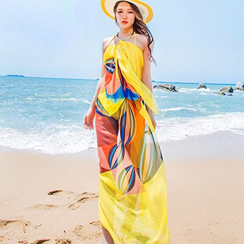 Sexy Women Chiffon Beach Swimwear Sarong Wrap Dress Bikini Cover Up Scarf (Yellow)