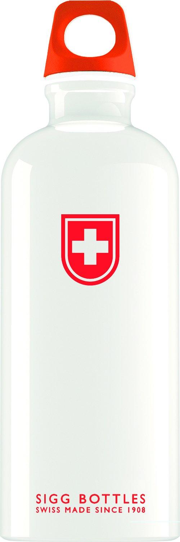 Cantimplora SIGG, color blanco y rojo, estilo minimalista