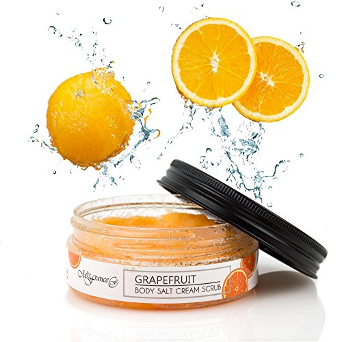 (Mrs.France Grapefruit Face & Body Salt Scrub - All natural - Best Skin Exfoliator - Eczema & Acne Treatment - For All Skin Types - Made in Europe)