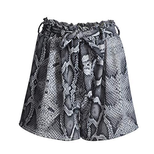 JOFOW Womens Shorts Snakeskin Python Pattern Print High Waist Drawstring Tie Loose Comfy Casual A Line Summer Mini Pants (L,Silver Gray)