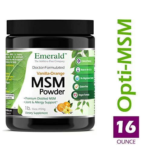 MSM Powder - Joint Support for Aches & Pains, Anti-Inflammatory, Stress Relief, Supports Digestive System, Allergy Relief - Vanilla Orange Flavor - Emerald Laboratories (Ultra Botanicals) - 16 oz