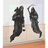 """Creepy Cemetery Halloween Party Grim Reaper Scene Setter Add-On Decoration, Plastic, 65"""" x 33"""" Pack of 2"""