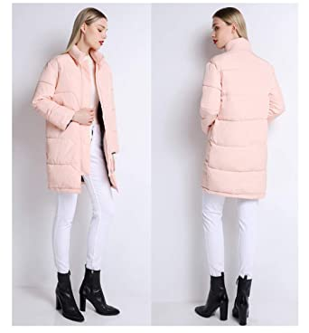 Amazon.com: Women Knee Length Pink Coat Camperas Mujer Abrigo Invierno Winter Jacket Female Overcoat: Clothing