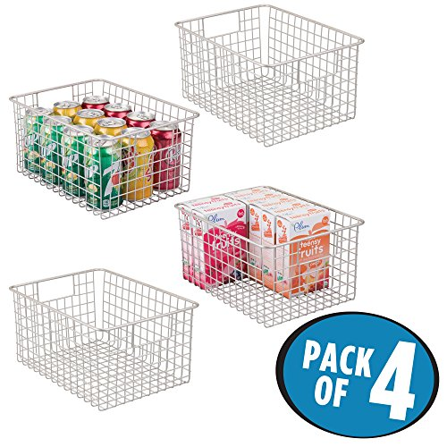 mDesign Large Household Wire Storage Organizer Bin Basket with Built-In Handles for Kitchen Cabinets, Pantry, Closets, Bedrooms, Bathrooms – 12″ x 9″ x 6″, Pack of 4, Satin