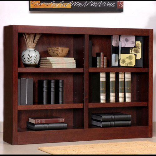 Concepts in Wood MI4836 6 Shelf Double Wide Wood Bookcase, 36 inch Tal - Bookcase Wide 36 Inch
