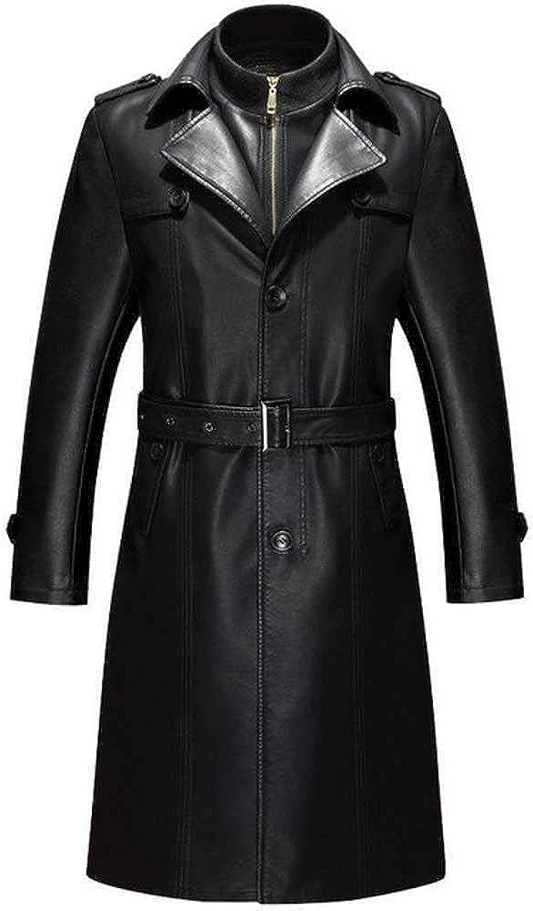 Chaquetas de piel sintética para hombre, estilo callejero, chaqueta con cinturón M-4xl