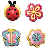 Colorful Drawer Pulls Customize Furniture, Kitchen Cabinets, Chests of Drawers. 12 Piece Painted Resin Knob Set Features Ladybugs, Butterflies, & Flowers. Update with These Cabinet & Dresser Handles. Pretty Hardware for Girl's Bedroom Too!