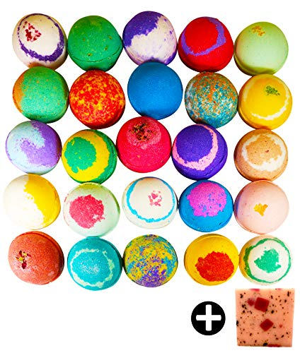 10 Large Bath Bombs, USA Made Gift Set - Ultra Lush Bath Fizzies -Over 200 Different Varieties, Assorted Gift Box Vegan Kids Love Them Perfect Gift For Her Spa Moisturize Kit Organic Shea Butter -