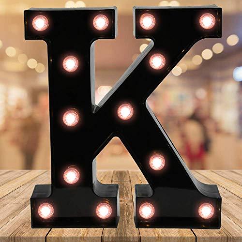 Oycbuzo Light up Black Alphabet Marquee Letters Sign LED Letter Lights for Home Bar Festival Birthday Party Wedding Decorative (Black Letter K)