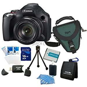 Canon SX30IS 14.1MP Digital Camera w/ 35x Wide Angle Optical Image Stabilized Zoom & 2.7 Inch Wide LCD Super Bundle W/ 16 GB Secure Digital High-Capacity (SDHC) Mem. Card, Hi-Speed SD USB 2.0 Card Reader, BP-7L 1150mah Batt Pack, DigPro Deluxe Case & More