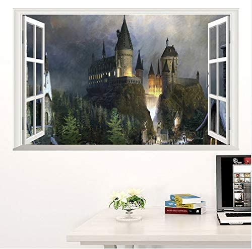 70 Cm Stickers Muraux 3D Fen/être Harry Potter Affiche D/écorative Sorci/ère /École Du Monde Fonds D/Écran Pour Enfants Chambre Stickers Muraux 50