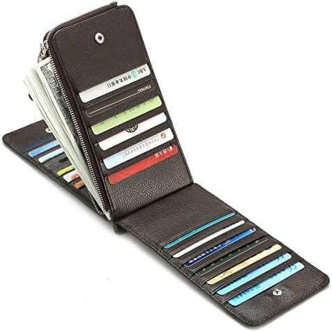 Zenpy RFID Blocking Multi Card Wallet Card Organizer Case 26 Card Slots Genuine Leather Card Holder with Zipper Pocket Purse Wallet
