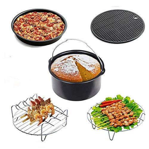 Universal Air Fryer Accessories(3.2QT Up)-Set of 5 Baking Set, Cake Barrel /Pizza Pan/ Metal Holder / Skewer Rack/ Silicone Mat by feierna