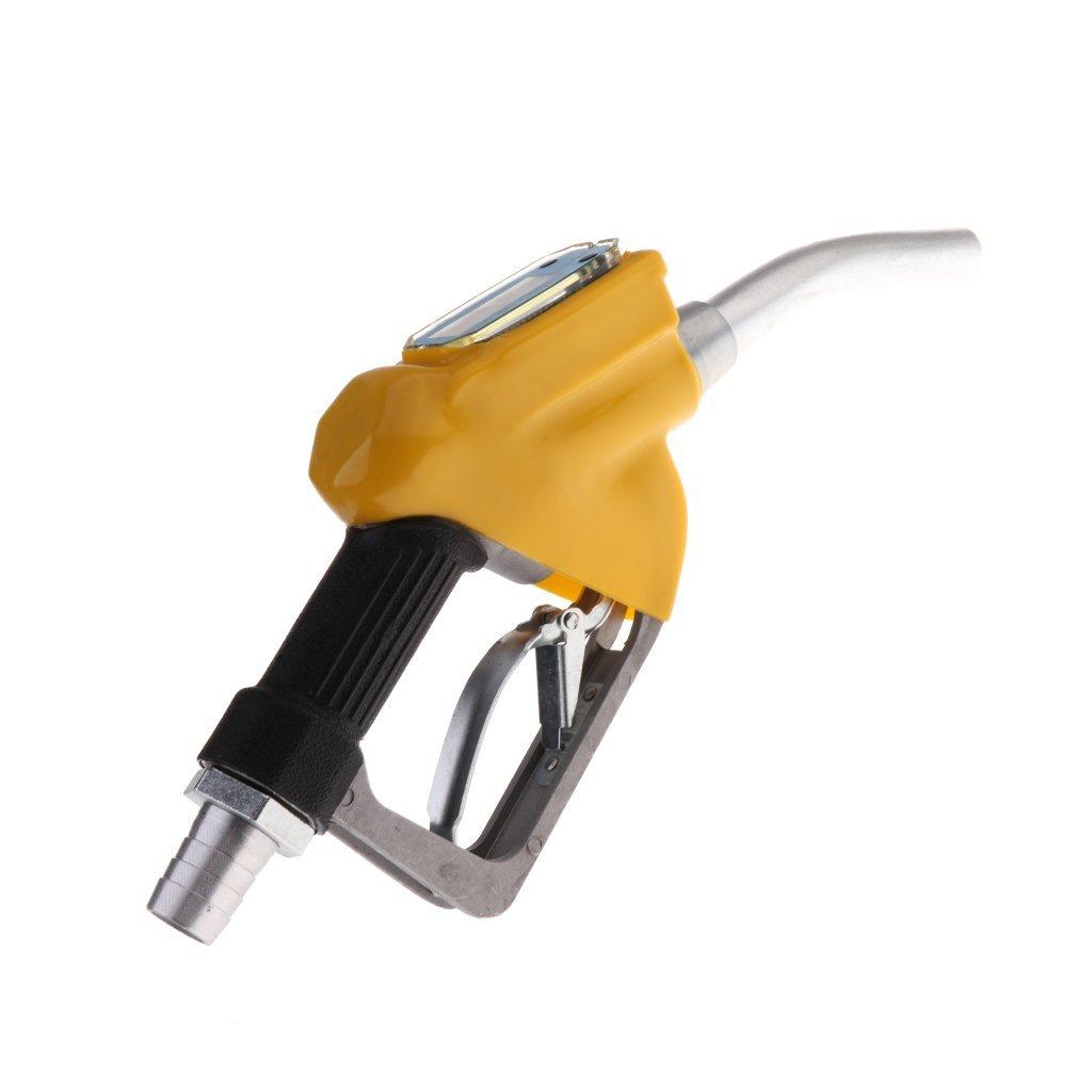 Baoblaze Universal 1'' Fluid Transfer Automatic Nozzle Gun with Flow Meter - Yellow, 340x140x55mm
