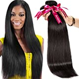 Armmu 9A Grade Straight 100% Unprocessed Human Hair Bundles Brazilian Hair 3 Bundles Hair Weft Remy Virgin hair Extensions Deals With Mixed Lengths(14″ 16″ 18″) For Sale