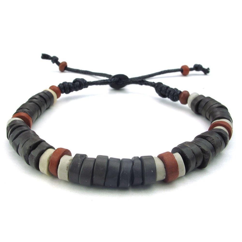 TEMEGO Jewelry Mens Womens Leather Rope Bracelet, Adjustable Vintage Beads Charm Cuff Bracelet, Black Brown
