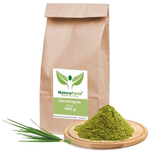 NaturaForte® 1kg, 1000g Gerstengras Gerstenpulver glutenfrei 100% naturrein Rohkost aus Deutschland Gerstengras Pulver gemahlen