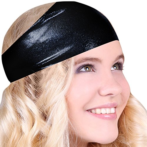 Best No Slip Shiny Black Printed Headband Wicking Work Out Wide Yoga Running Crossfit Sports Comfortable Spandex Perfect Gift Made in USA