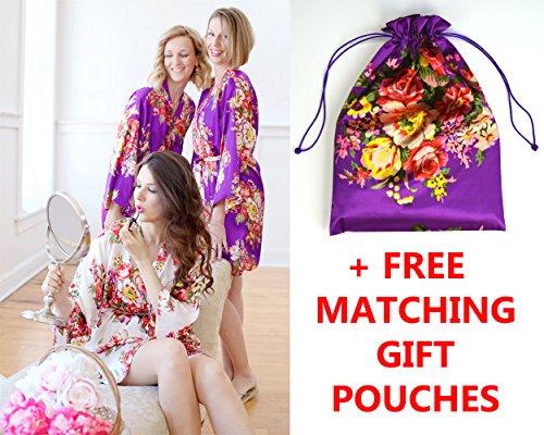 Silk Robes & Gift Pouches – Floral Satin Kimono Robe, Bridesmaid Gift, Bachelorette Bridal Party Getting Ready, Wedding Favor (Flower Girl (2-5 Yo), Purple)