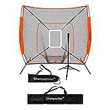 ChampionNet 7' x 7' Baseball/Softball Net & Frame with Tee & Target Zone Bundle - ORANGE