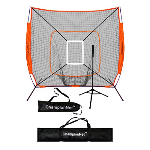 ChampionNet 7' x 7' Baseball/Softball Net & Frame with Tee & Target Zone Bundle - ORANGE by ChampionNet