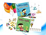 Ilays & Duck Series Eid Gift Set: Ilays & Duck Fantastic Festival & Search for Allah Books, Eid Mubarak Happy Eid Swirls, Happy Eid Flags, Eid Mubarak Balloons & Goody Emoji Bag