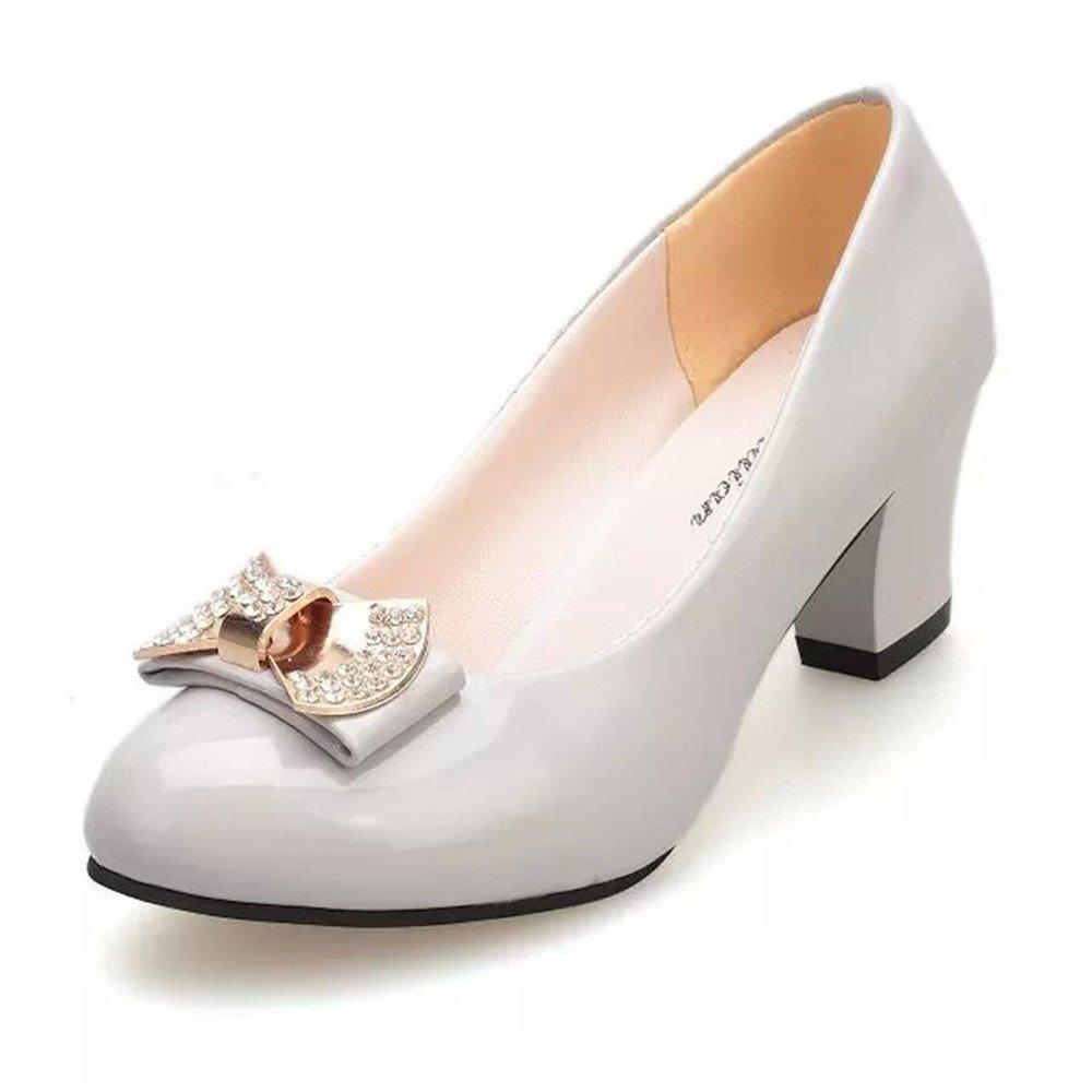 TYAW-Frauen Schuhe Heels Leder Farbe Flachen Maul Runder Kopf Metall Dekoration,Schwarz,37