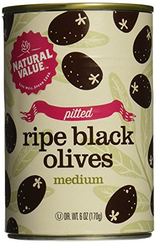 Pitted Olives Black Medium (Natural Value Pitted Medium Black Ripe Olives, 6 Ounce Cans (Pack of 24))