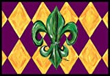 "Caroline's Treasures Mardi Gras Fleur De Lis Purple Green and Gold Indoor or Outdoor Mat, 18"" x 27"", Multicolor"