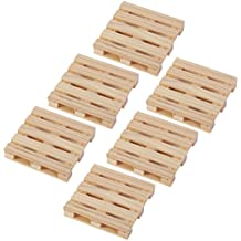 Coasters Mini Wooden Pallet Drink Coasters For Wine Glasses, Beer, Whiskey, Cocktail, Hot and Cold Drinks and Other Beverages, Set of 6