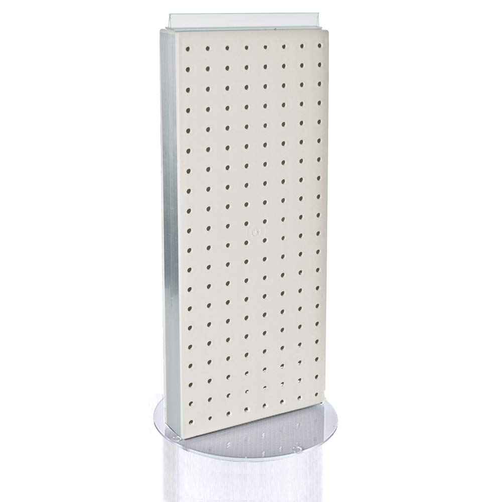 Azar 700509-WHT Pegboard Two-Sided Non-Revolving Counter Display, White Solid Color