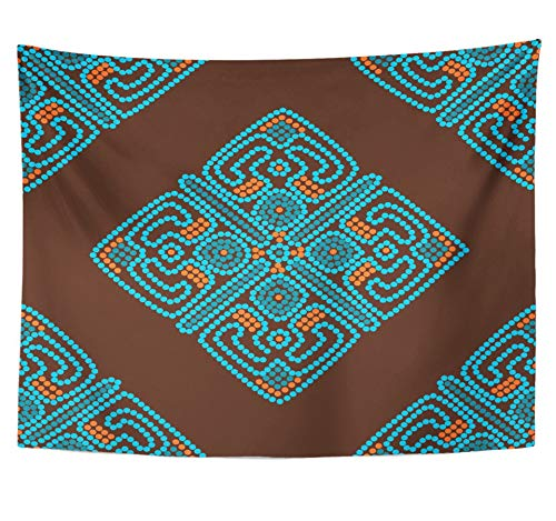Emvency Tapestry 60x80 inches Wall Hanging Room African Ethnic in Brown and Blue Colors Mexican Arabian Dotted National Oriental Home Decor Wall Hanging Living Room Bedroom Dorm Tapestries by Emvency