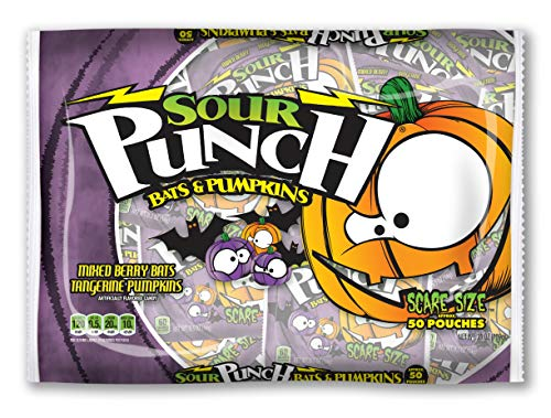 Sour Punch Bats and Pumpkins Halloween Candy, Bag of 50 Snack Size Pouches -