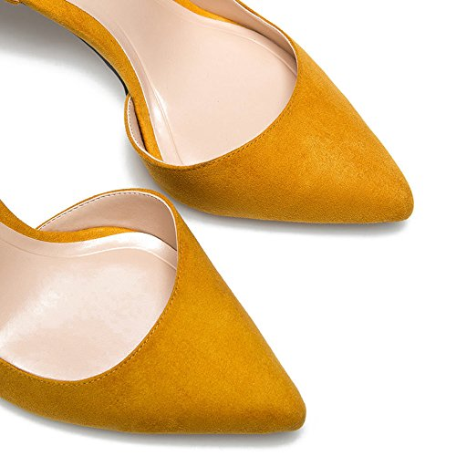 D'orsay Yellow Stiletto Court Women's High On Pointed Heel 10cm Ubeauty Shoes Heels Work Toe For Basic Slip Zwzvd