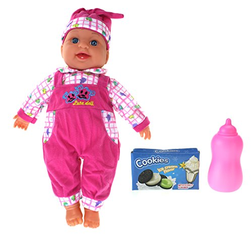 My Lovely Little Baby Realistic Giggle & Crying Battery Operated Toy Doll w/ Baby Bottle, Cookie Box, Crying/Giggling Action, & Says Mama/Papa