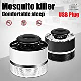ANMIEN Photocatalyst 45 DB Mute 5W USB Bug Zapper Electric Mosquito Killer Lamp LED Insect Zapper Repeller Catcher with UV Smart Optically Controlled Non-Toxic for Indoor Outdoor (Black)
