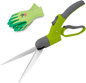 Hortem Swiveling Grass Shears- Lightweight 360 Degrees Grass Clippers- Comfortable Grass Scissors, Good for Trimming Various Grasses and Light Hedges at All Angles