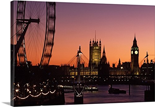 Canvas On Demand Premium Thick-Wrap Canvas Wall Art Print entitled London skyline at sunset with the London Eye, Hungerford Foot Bridge and Parliament 48