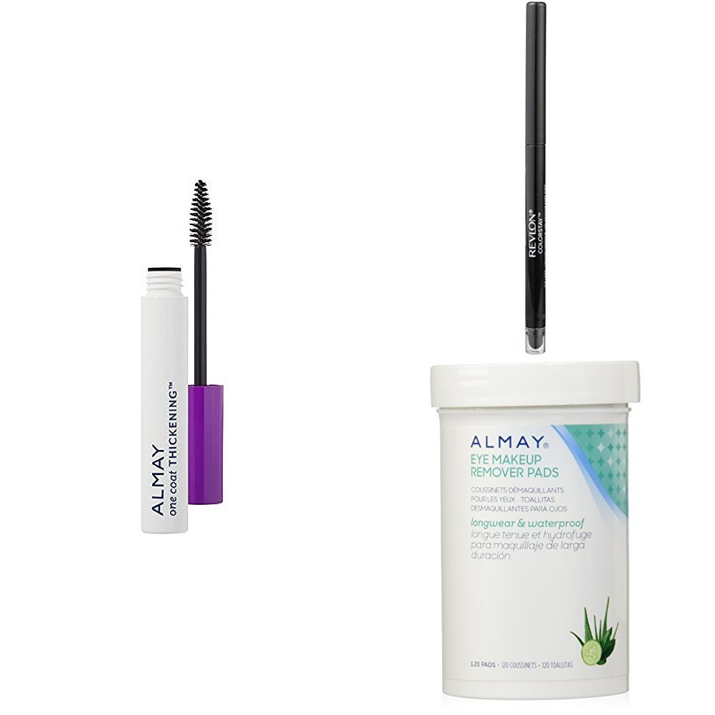 Amazon.com : Revlon & Almay Perfect Eye Collection - Almay One Coat Thickening Mascara, Revlon ColorStay Eyeliner & Almay Longwear Eye Makeup Remover Pads ...