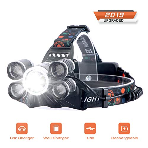 Arzopa Headlamp LED Rechargeable Headlight 4 Modes,Work Headlight,Waterproof Head Torch,Recharged by USB/Plug in/Car Charger (All Include),Headlight Flashlight for Running,Hiking,Fishing,Camping