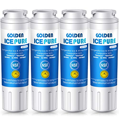 (Golden IcePure 4 PACK Replacement Refrigerator Water Filter, Compatible with UKF8001AXX-200, Maytag UKF8001, UKF8001AXX, UKF8001P, Whirlpool 4396395, Whirlpool 4396395, 469006 and More)