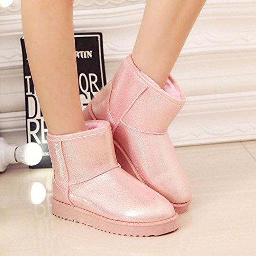 Botas Mujer,Ouneed ® Moda Mujer Chica PU Botas De Cuero Invierno Caliente Zapatos De Tobillo Tobillo Rosado