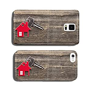 Symbol of the house with silver key on vintage wooden background cell phone cover case iPhone5
