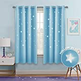 PONY DANCE Blackout Star Curtains - Hollow Out Stars Design Window Treatments Space Inspired Eyelet Top Blackout Curtain Panels for Kids Nursery Room, 52 W by 63 L, Light Blue, Set of 2 Pcs
