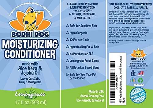 NEW Natural Moisturizing Pet Conditioner | Conditioning for Dogs, Cats and more | Soothing Aloe Vera & Jojoba Oil | Professional Grade Treatment - Made in the USA - 1 Bottle 17oz (503ml) (Lemongrass) by Bodhi Dog (Image #3)